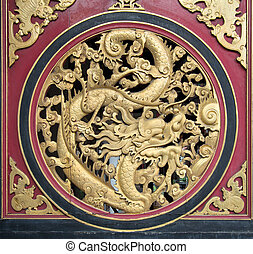 Wood Carved Chinese Dragon
