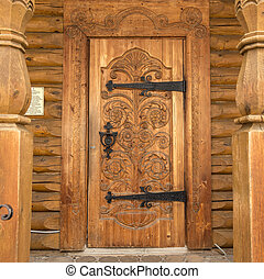 wood carved decoration of wooden door