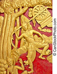 Wood carving decorated