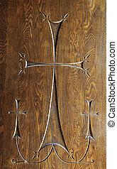 Wood carving of three crosses