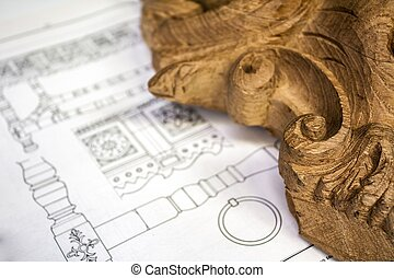 wood carving with work tools and technical drawing, isolated