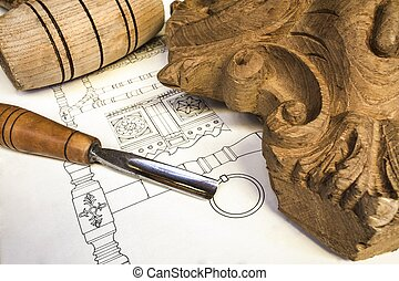 wood carving with work tools and technical drawing,isolated