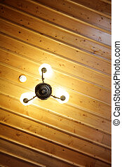 Wood Ceiling and Lamp