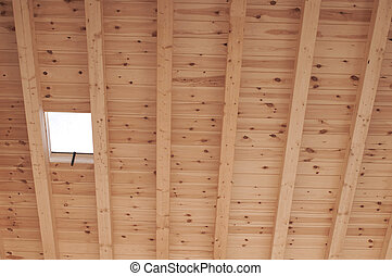 Roof wood support of a house under construction