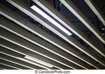 Wood ceiling with fluorescent light