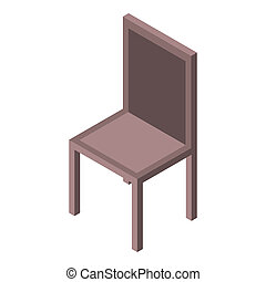 Wood chair icon, isometric style
