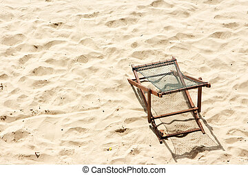 Wood chair on the beach. Top view.