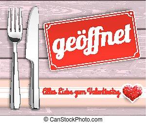 Wood Checked Cloth Knife Fork Sign Geoeffnet - German text...