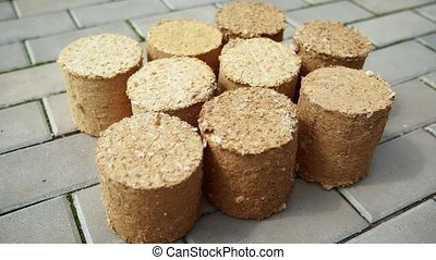 Round pellets of biofuel for burning in a home wood stove, made from compressed and dried sawdust and shredded paper.