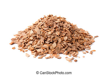 Wood chips - Pile of wood smoking chips isolated on white