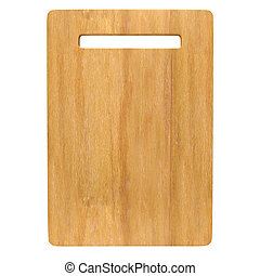 Wood Chopping board isolated on white background with Clipping p