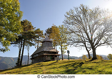 Wood church - Autumn landscape with wooden orthodox church...