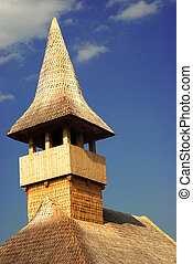 wood church - romanian traditional countryside wooden church