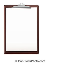 wood clipboard base with metal ball dog clip and white blank paper