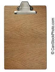 Wood clipboard isolated on white with clipping path