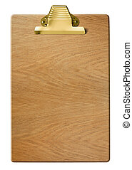 Wood clipboard isolated with clipping path