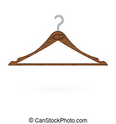 Wood clothes hanger isolated on white background. Vector illustration