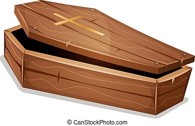 Wood Coffin With Christian Cross