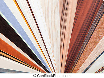 Wood color samples on a white background - Close up of...