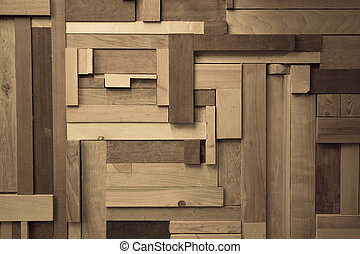 Wood composition creating a wall effect, using different sizes of wood pieces