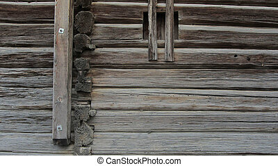 wood connection or timber joint on log house