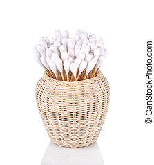 Wood , cotton buds isolated on white background