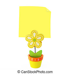 Wood craft color flower note holder with empty yellow stick note