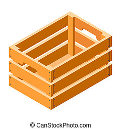 Wood crate icon, isometric style