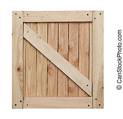 Wood Crate Top - Side of Wood Crate with Copy Space Isolated...