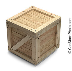 Wood Crate - Wooden Shipping Crate With Copy Space Isolated...