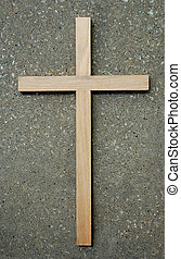 Wood Cross and Stone - Wooden Cross on stone background