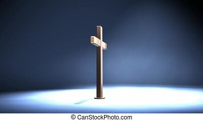 Wood cross in spotlight