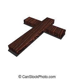 Wood cross - Big wood cross in white background