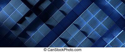 Wood cube background texture, Block shape elements pattern, blue color. 3d illustration