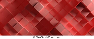 Wood cube background texture, Block shape elements pattern, red color. 3d illustration