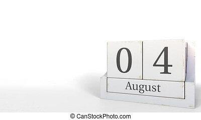 Wood cube calendar shows August 4 date, 3D animation -...