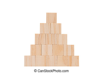 Wood cube model  set in pyramid shape isolated on white background with clipping path
