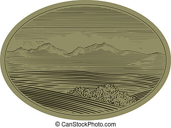Wood Cut Mountain Scene