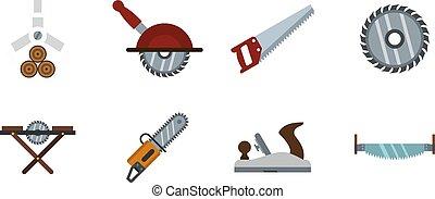 Wood cut tool icon set, flat style