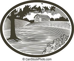 Woodcut style illustration of a rural barn scene.