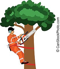 Wood cutter vector illustration