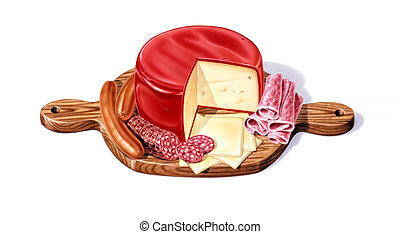 Wood Cutting board, with a selection of different cheeses, ...