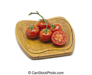 Wood Cutting Board with Tomatoes