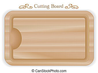 Cutting or carving board with well, wood grain detail, rectangular shape. For kitchen, barbecue and bar. Isolated on white. EPS8 compatible.