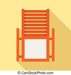Wood deck chair icon, flat style - Wood deck chair icon....