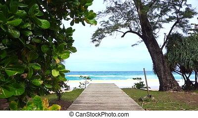 wood deck path to the beach sea