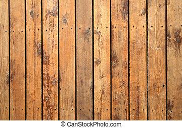 Wood decking. - Close up of weathered wooden garden decking.