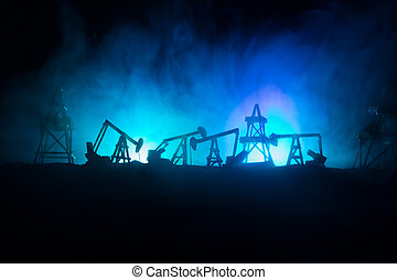 Wood Decoration. Oil pump oil rig energy industrial machine for petroleum in the sunset background for design