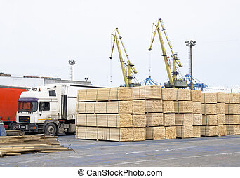 wood deposit in port - timber wood piles deposit for export