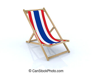 wood desk chair with thailand flag 3d illustration